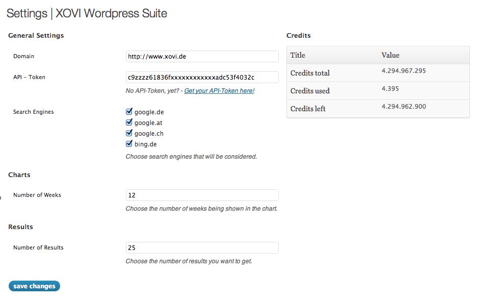 Einstellungen der XOVI WordPress Suite - Mit freundlicher Genehmigung XOVI GmbH