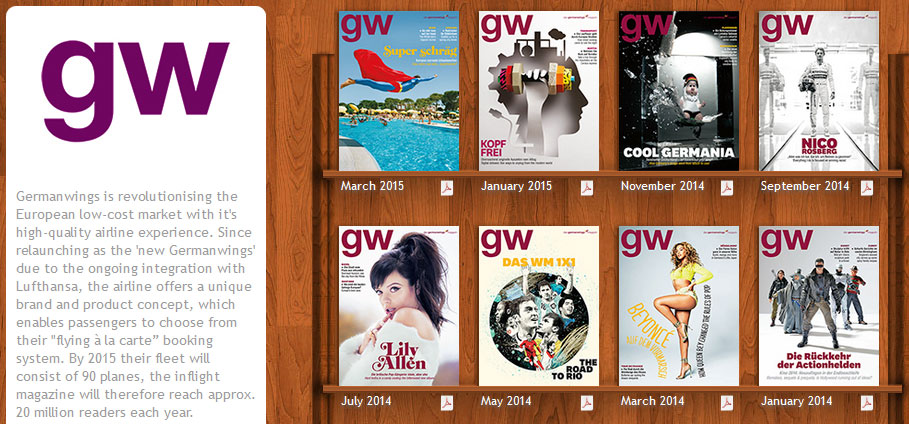 Das GermanWings-Magazin bei Ink-Live.com (Screenshot vom 18.03.2015)