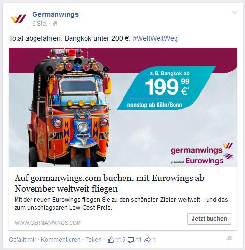 Germanwings-Post auf Facebook (Screenshot vom 18.03.2015)