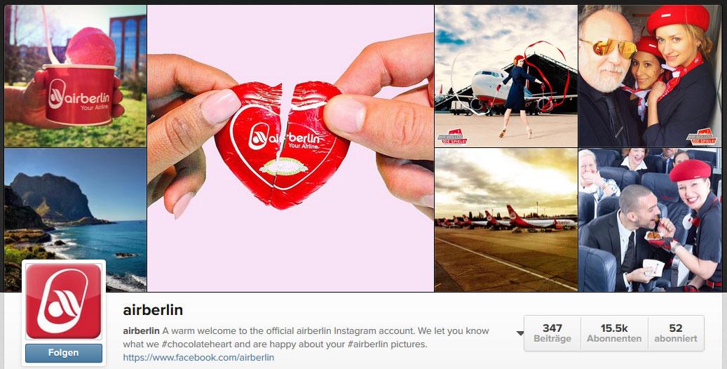 Air Berlin bei Instagram (Screenshot vom 18.03.2015)