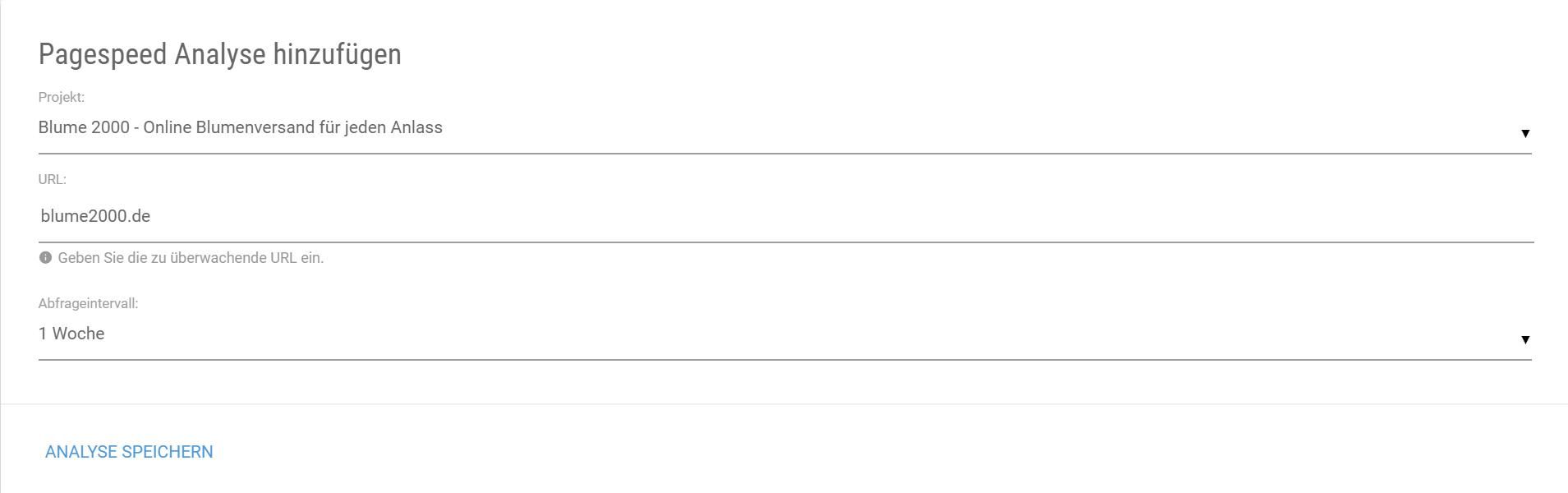 Screenshot der Anlage einer Pagespeed Analyse in der XOVI Suite