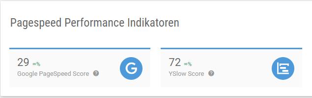 Screenshot Google Pagespeed Score und YSLOW Score in der XOVI Suite