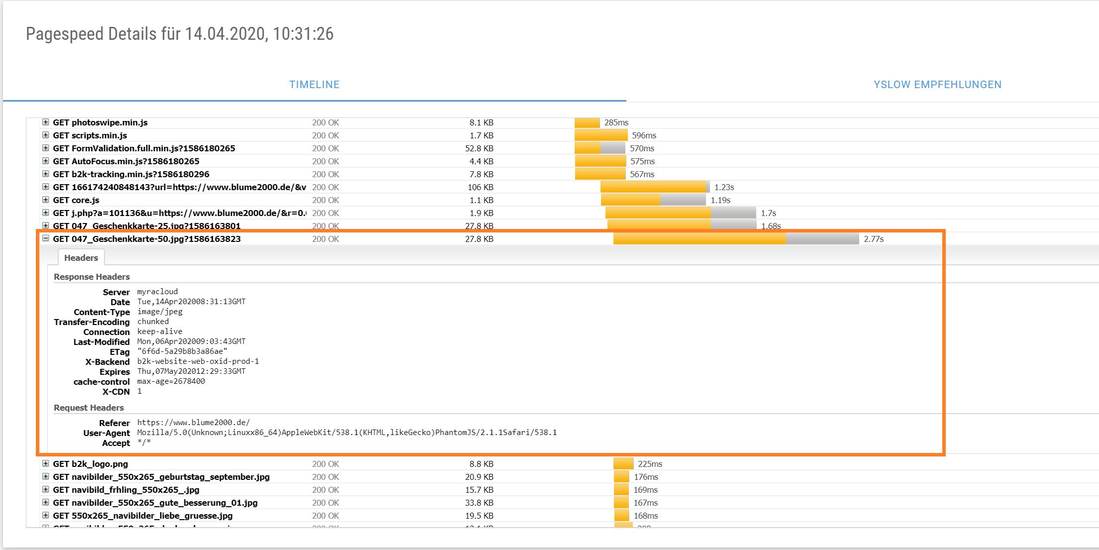 Screenshot XOVI Suite pagespeed Analyse ausgeklappte Informationen in der request Timeline