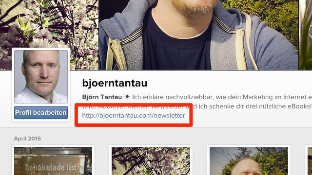 Screenshot des Instagram Profils von Björn Tantau