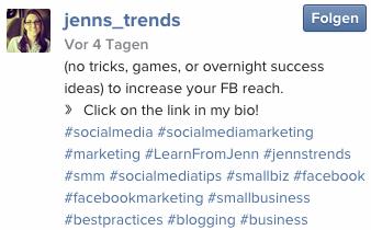 Hashtags spielen auf Instagram eine zentrale Rolle uns müssen deswegen mit themenrelevantem Bezug genutzt werden