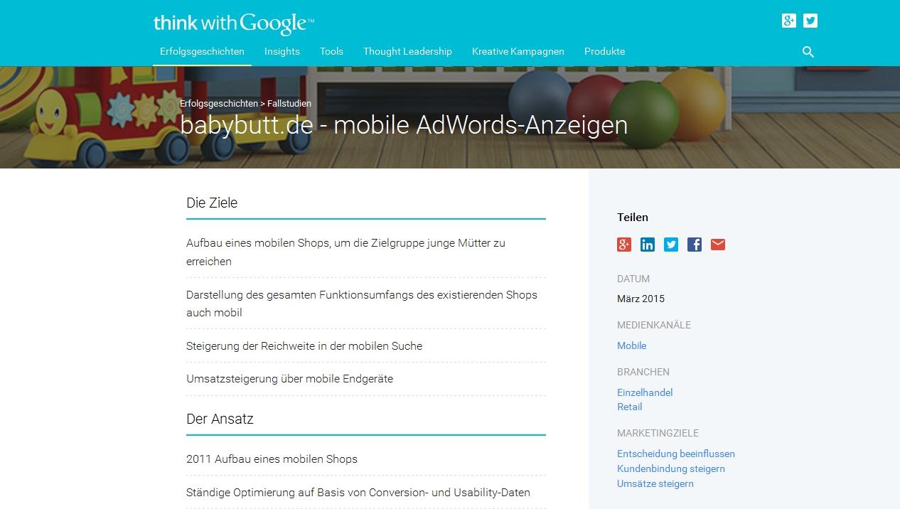 Fallstudie babybutt.de - mobile AdWords-Anzeigen