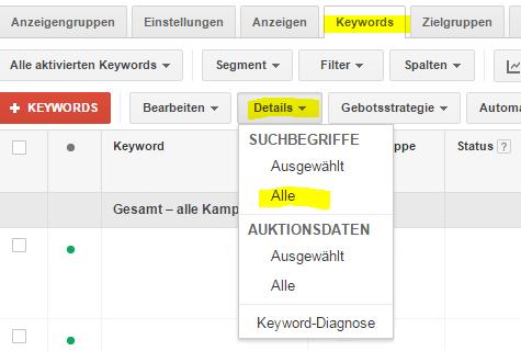 Abbildung 2: Suchbericht aktivieren