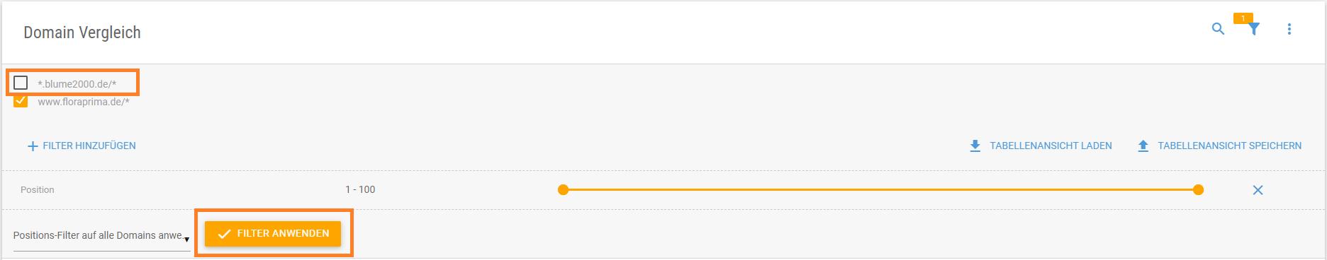 Ergebnisse nach Position sortieren und nach Domain filtern