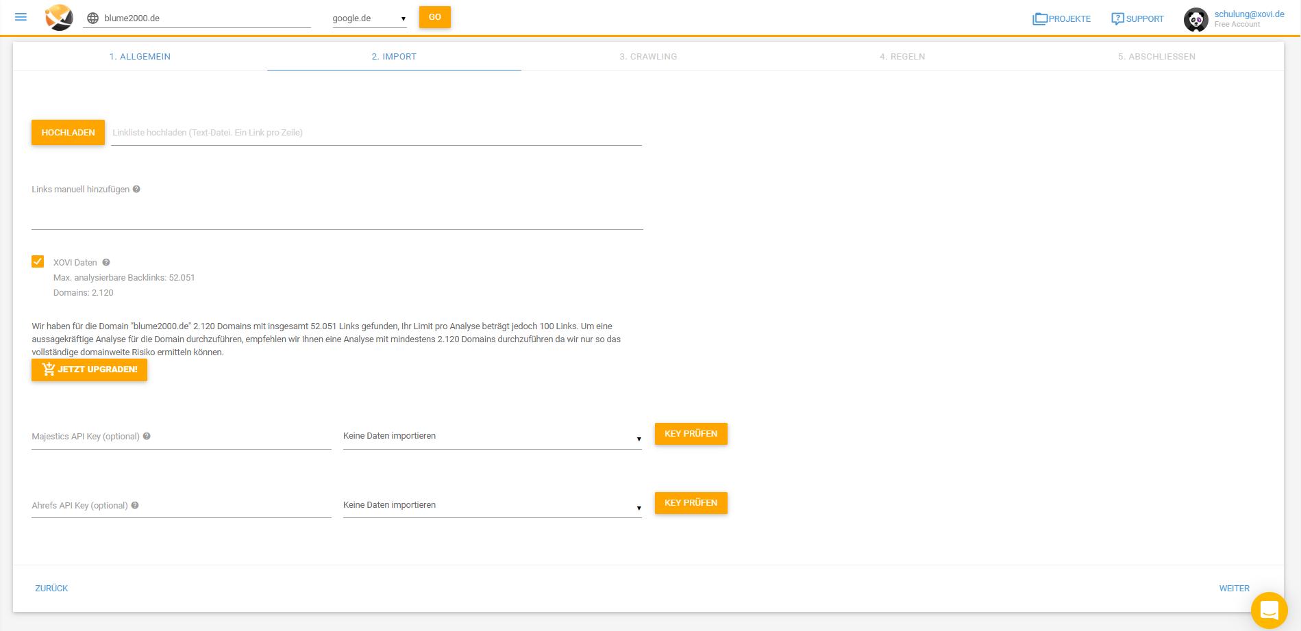 Importiere eigene Link-Listen für die Disavow Analyse it der XOVI Suite