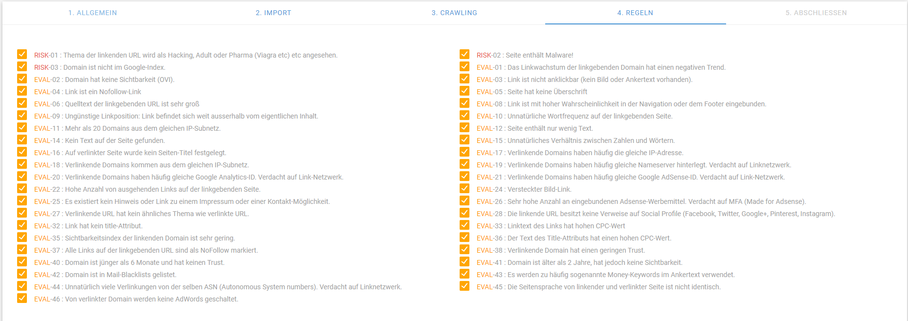 XOVI legt 46 individuell einstellbare Regeln zur Bewertung von Backlinks zugrunde