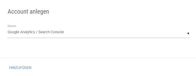 Auswahl des Google Accounts in der XOVI Suite