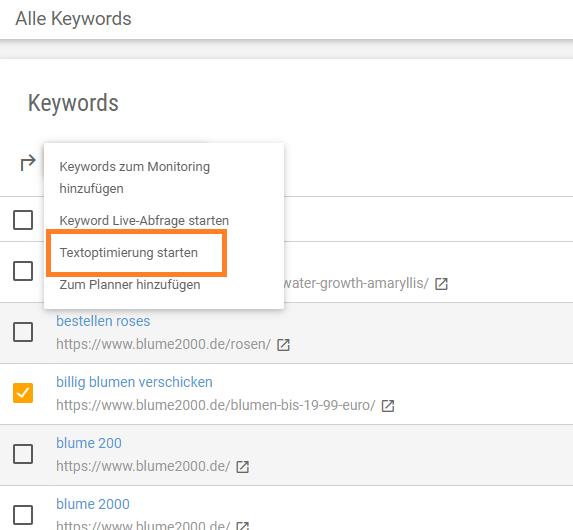 Screenshot der Textoptimierungs-Funktion im Keyword- und Monitoring-Tool
