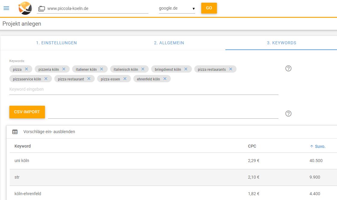 Screenshot XOVI Suite Projekt anlegen