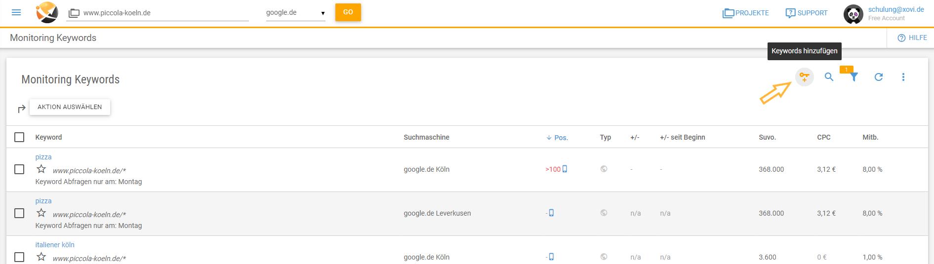 XOVI Suite Neue Keywords