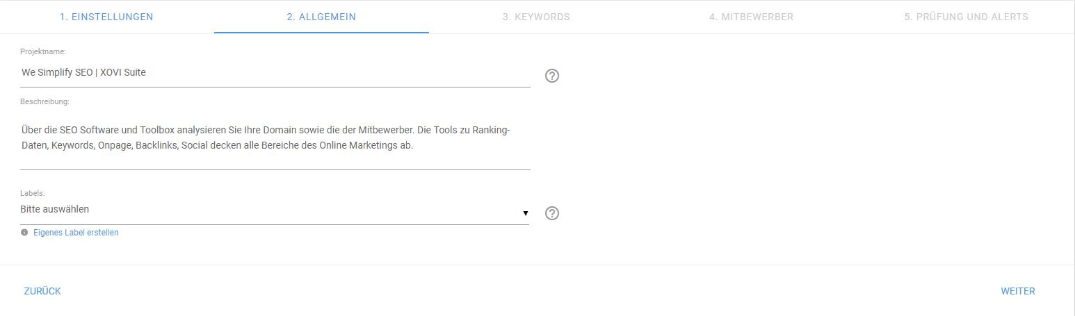 Screenshot: Projektnamen und Beschreibung definieren