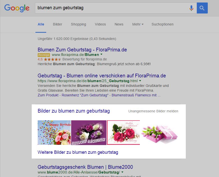 """Screenshot der Universal Search Ergebnisse zum Keyword """"blumen zum geburtstag"""""""