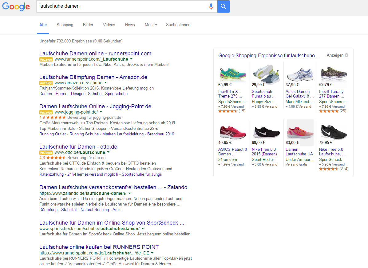 Abbildung 1: Neue SERP mit 4 Top-Ergebnissen und Google Shopping