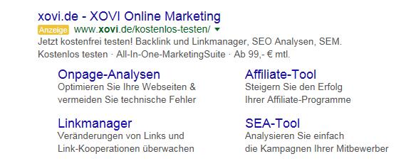 Abbildung 4: Sitelinks und Beschreibung als Anzeige