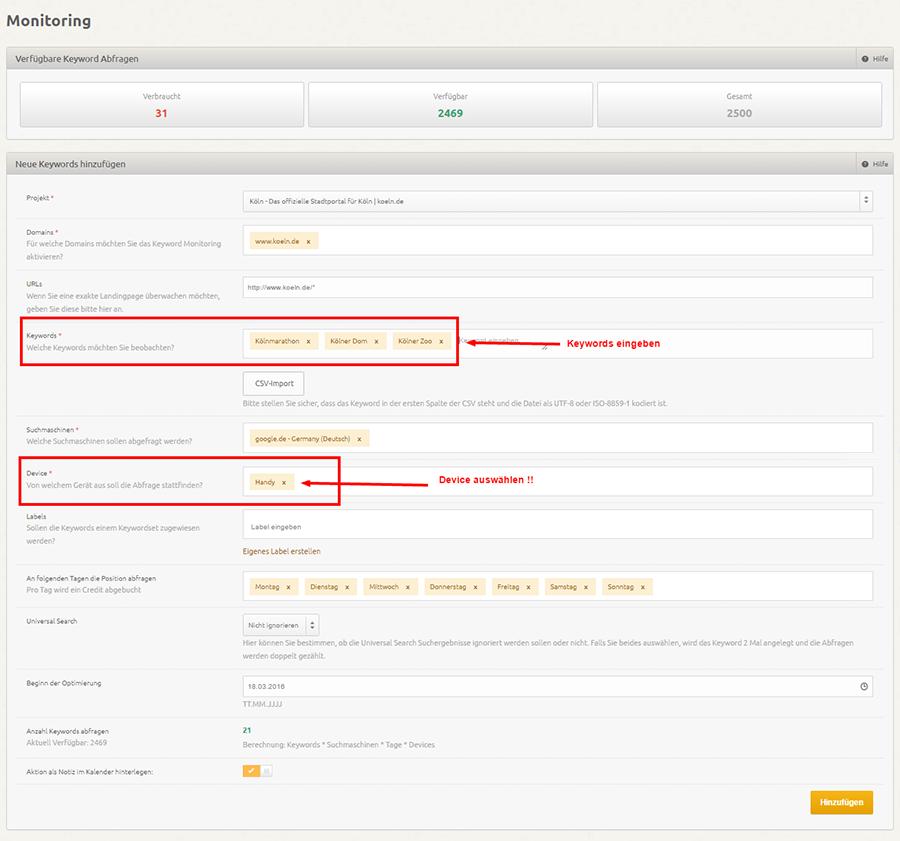 XOVI Keyword Monitoring Tool für das mobile Update