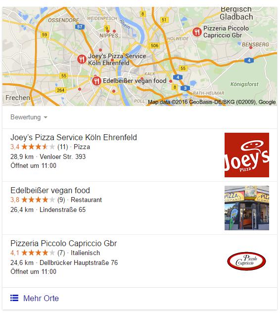 Google Ergebnisse für Pizzadienst Köln