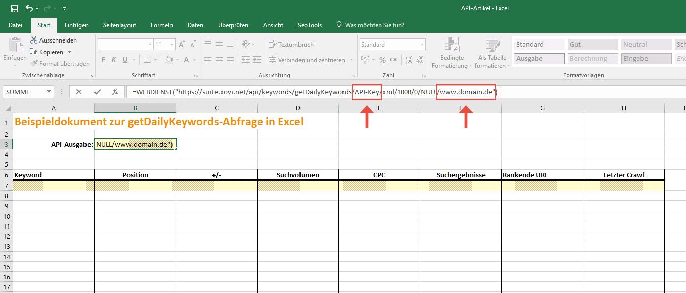Excel API Call