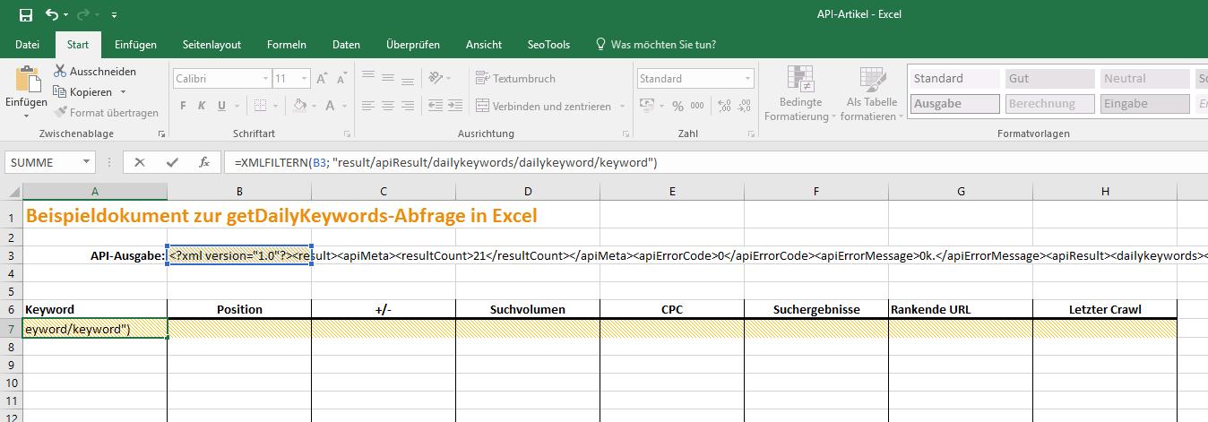 Excel FilterXML