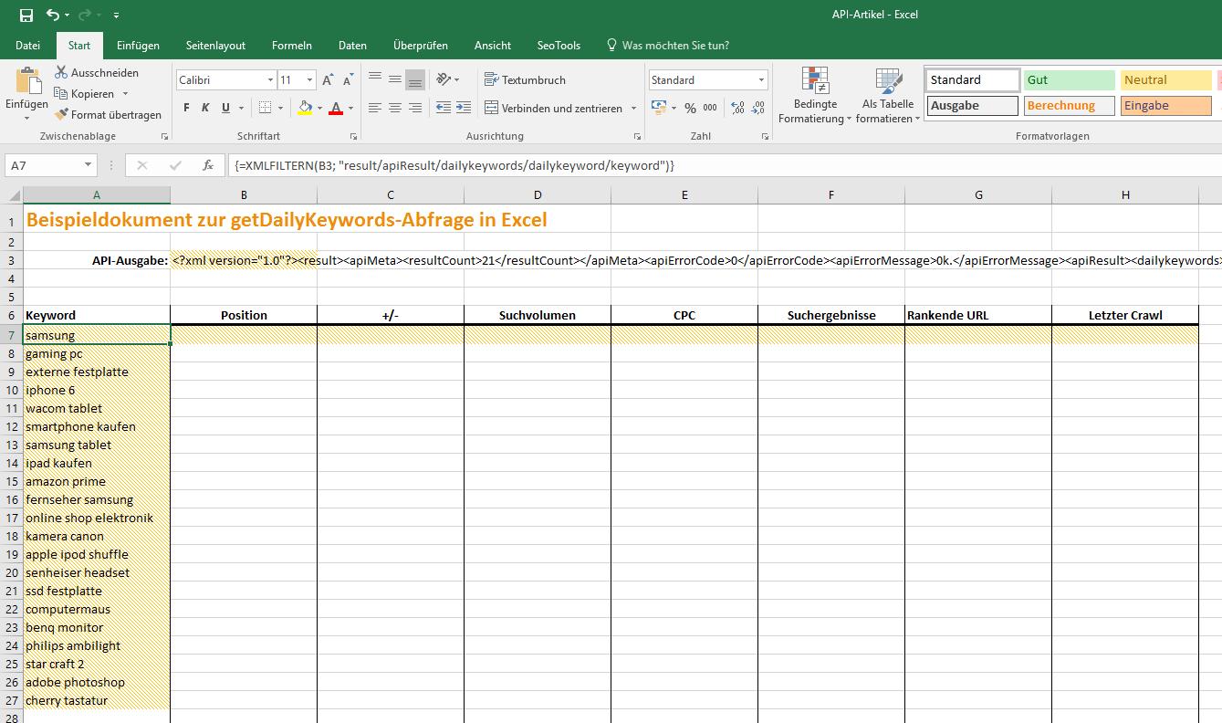 Excel Array anzeigen