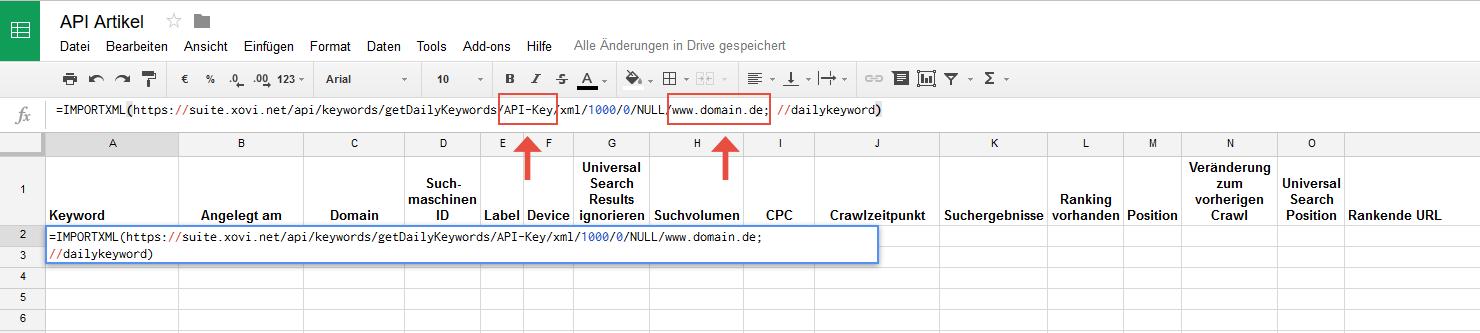Google Spreadsheet ImportXML