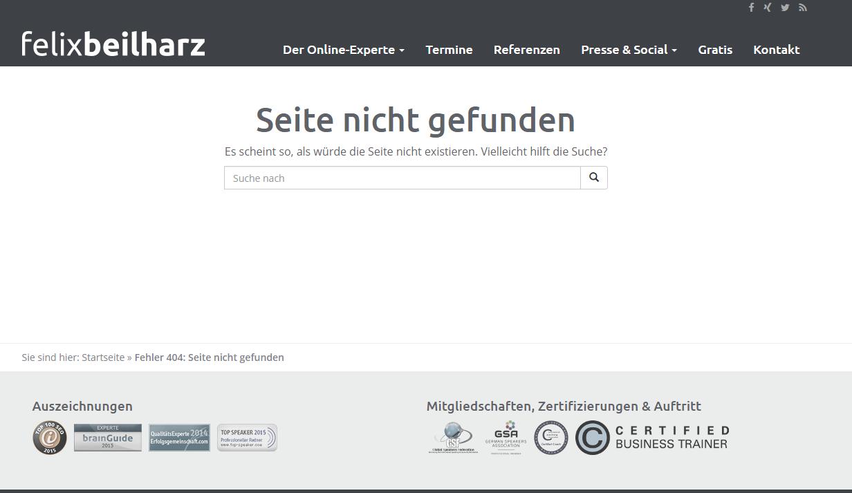 Felix Beilharz 404 Seite