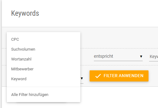 Screenshot der Filtermöglichkeiten bei der Keyword Recherche in der XOVI Suite