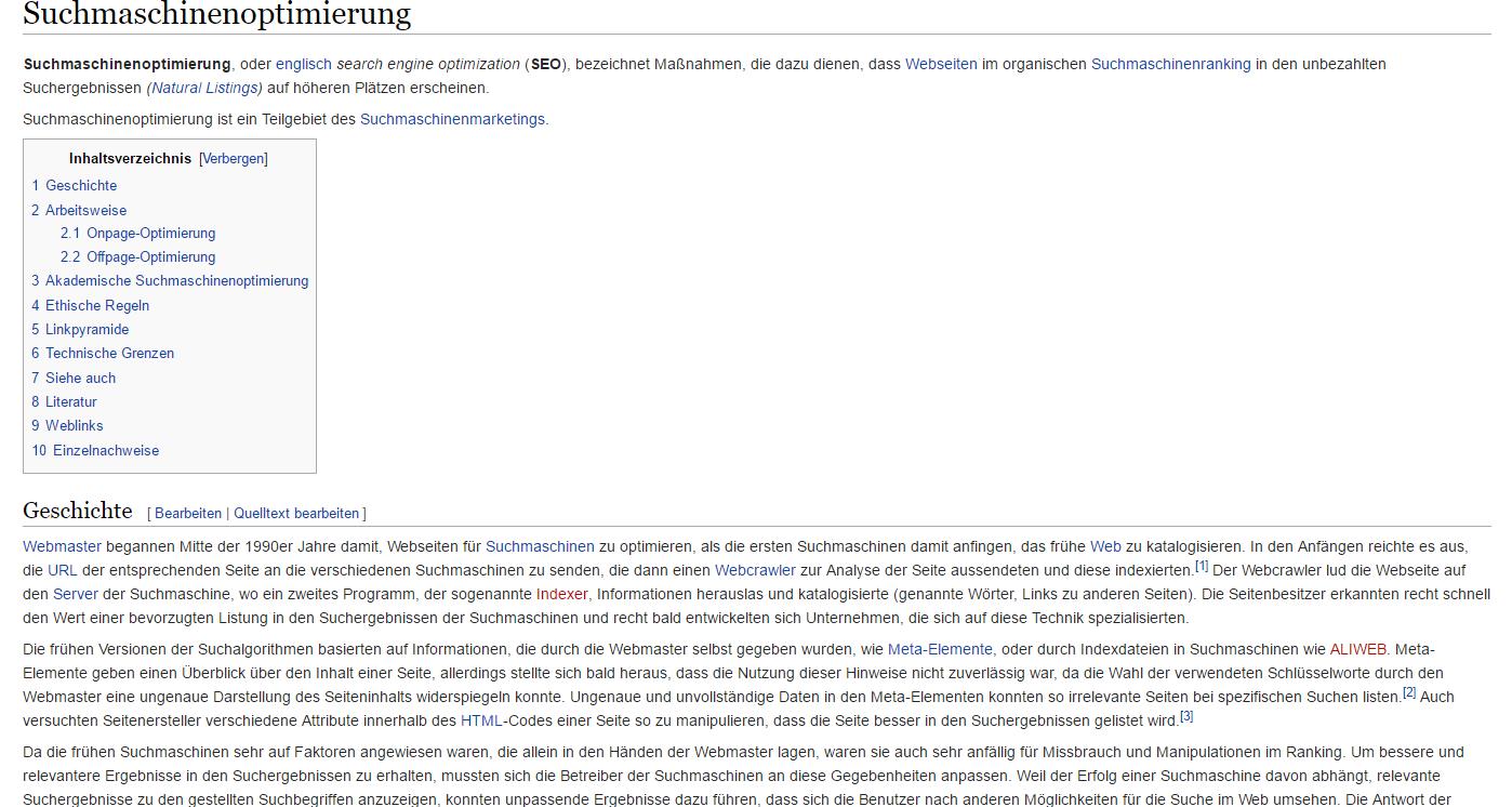 Suchmaschinenoptimierung Wikipedia