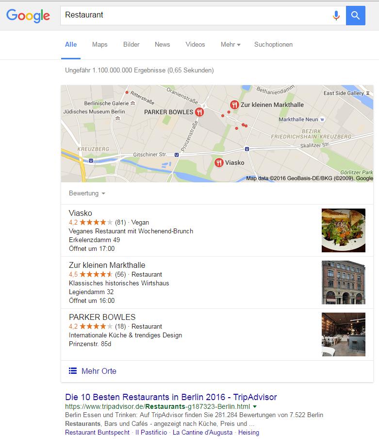 Google Suchanfrage Restaurant