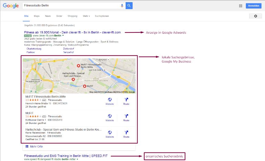 Google lokale Suchergebnisse