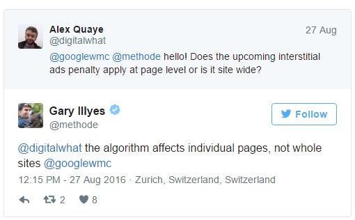 Tweet: Gary Illyes zum Thema störende Banner