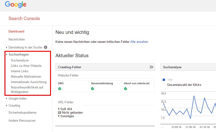 Search Console Neue Optionen