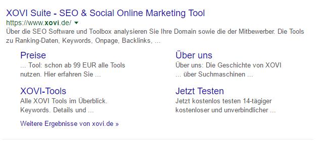 Google SERP XOVI Sitelinks