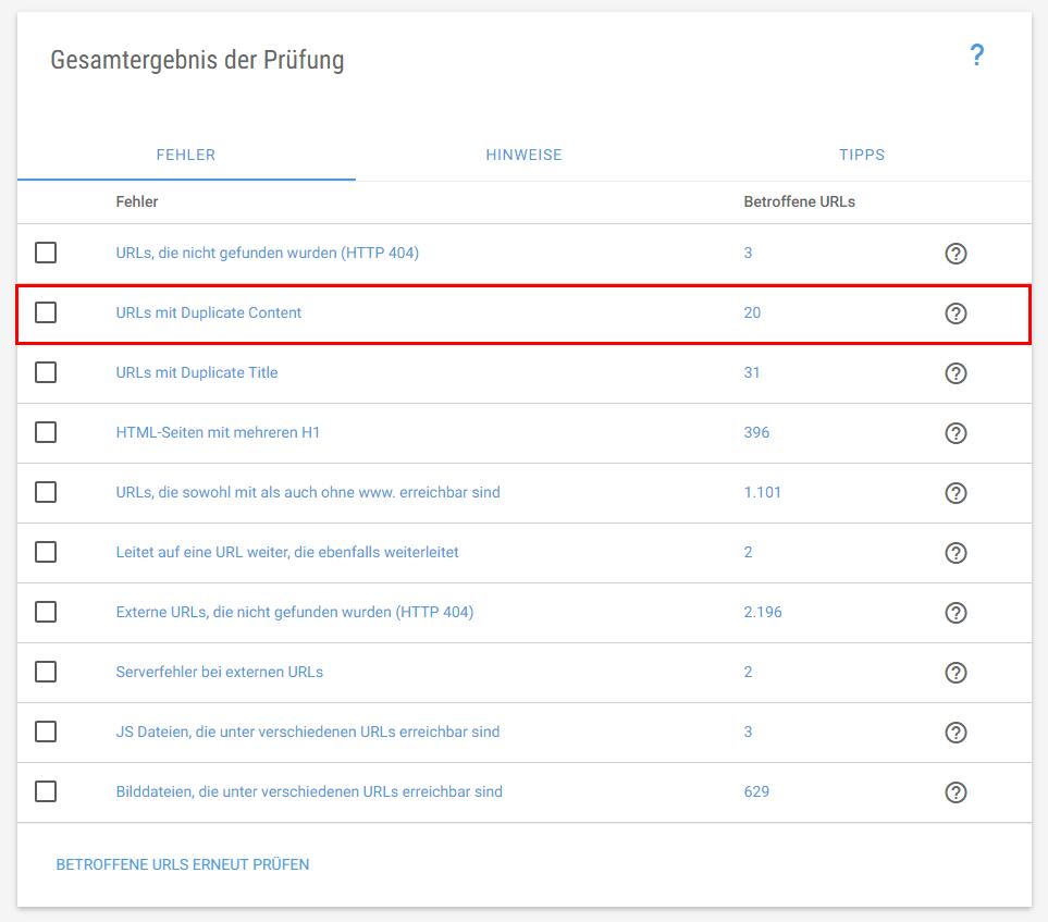 XOVI Suite Onpage Tool: Fehler Duplicate Content
