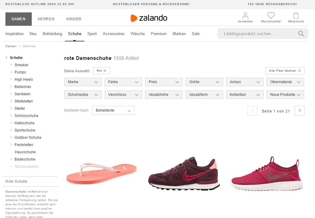 Zalando Kategorieseite mit Filter rot