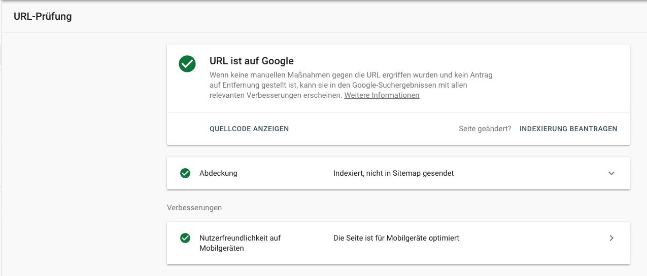 Search Console Ergebnis URL Prüfung