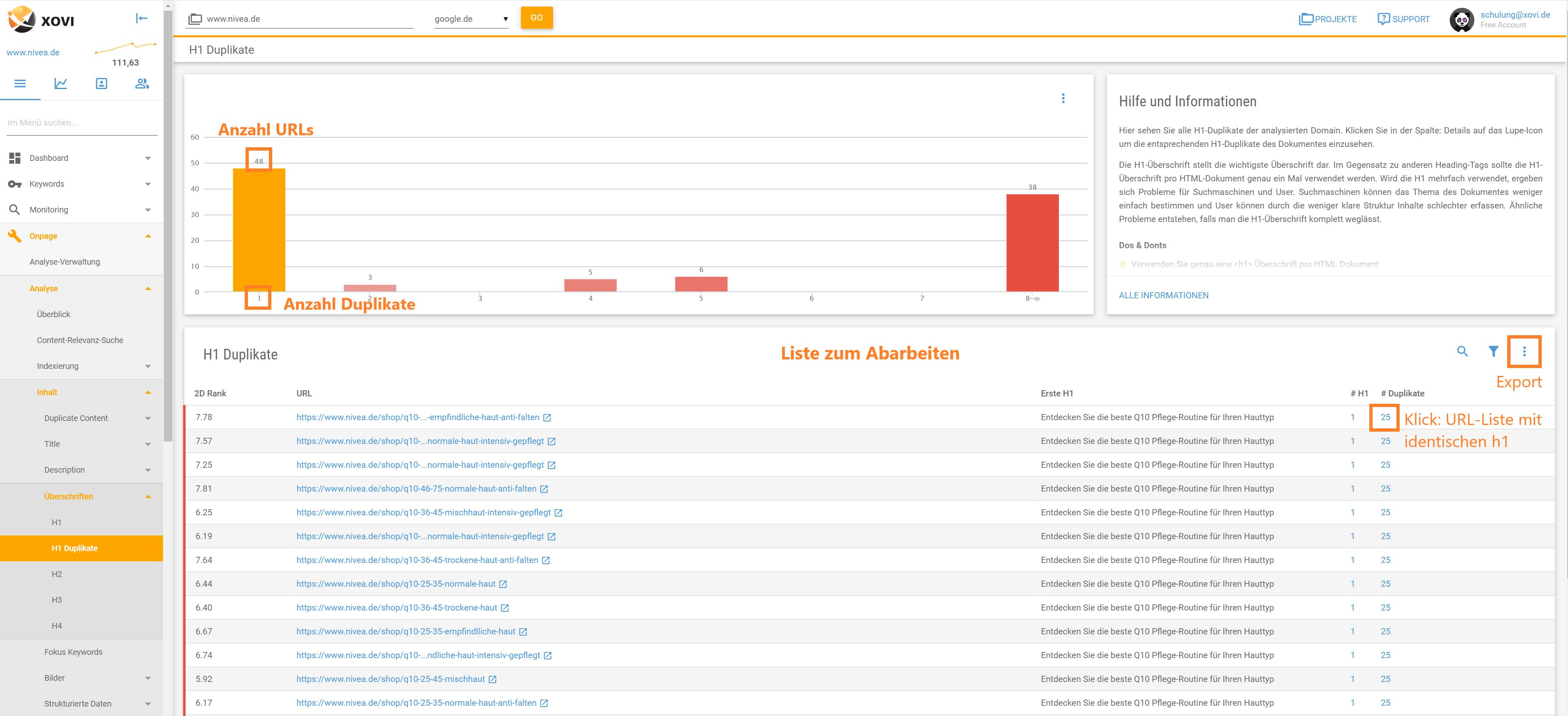 Screenshot der Liste der URLs mit h1-Duplikaten in der XOVI Suite