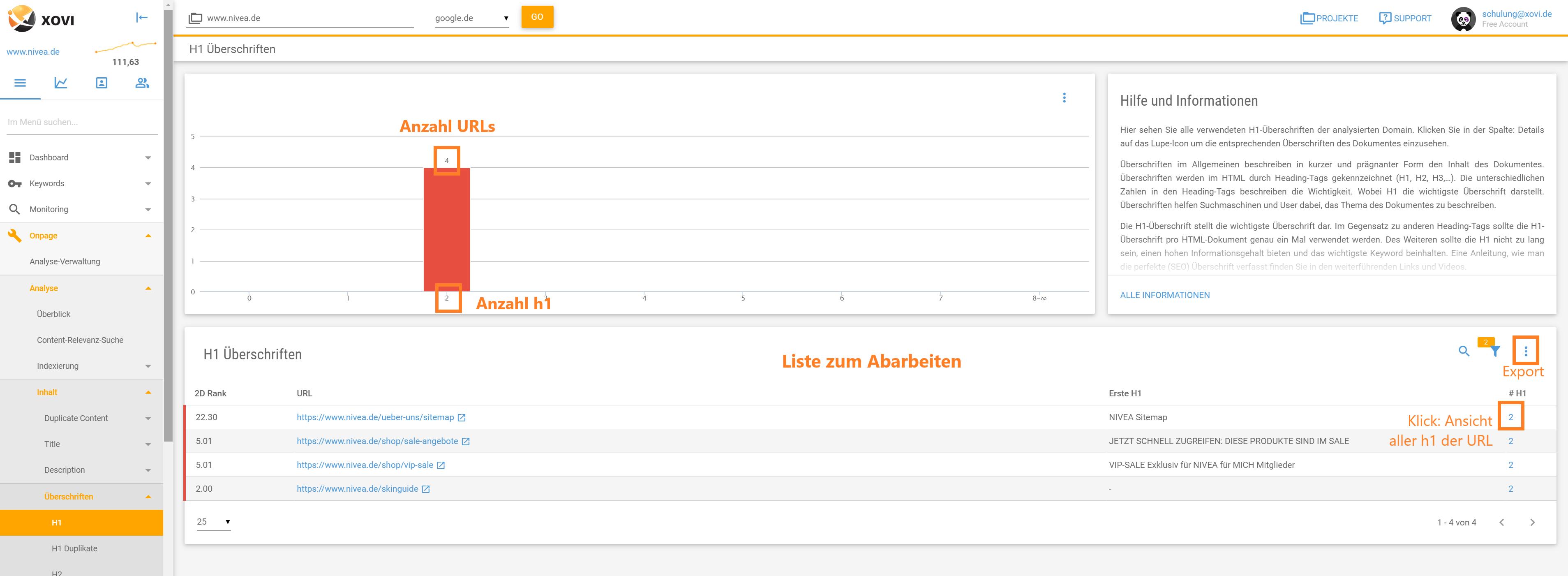 Screenshot der Liste mit allen URLs einer Domain mit mehreren h1-Überschritfen