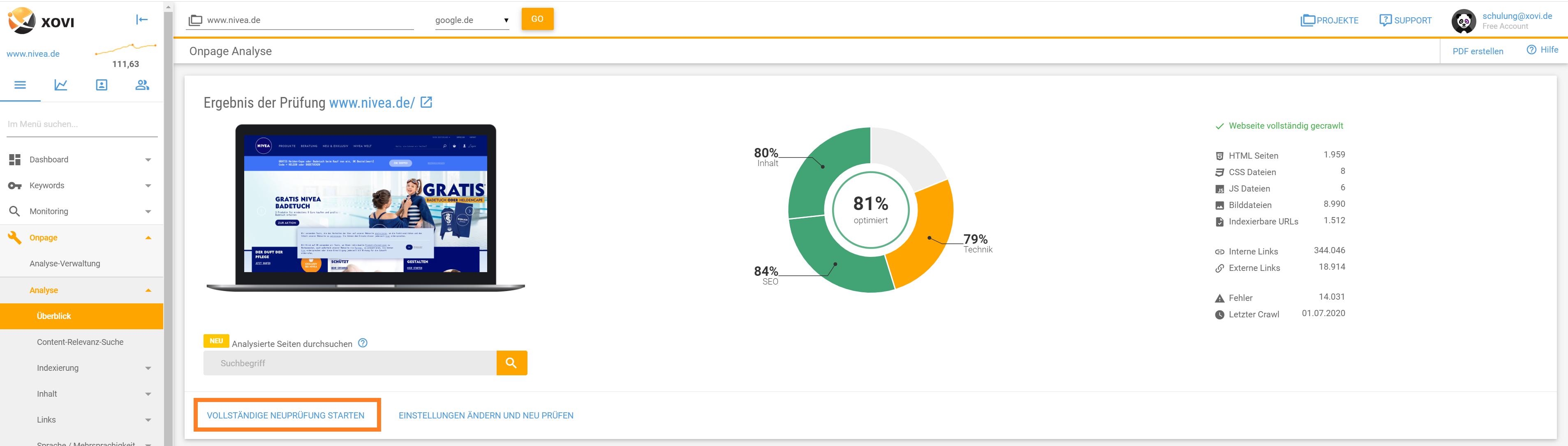 Screenshot der neuprüfung einer XOVI Onpage Analyse