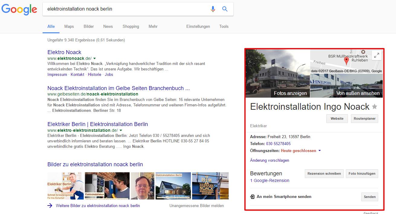 Elektroinstallation Noack Berlin bei der Google Suche