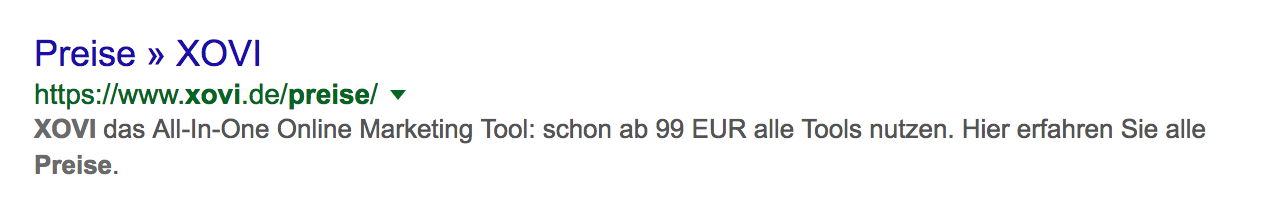 Google SERP XOVI Preise