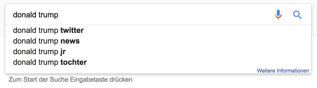 Google Suche Donald Trump