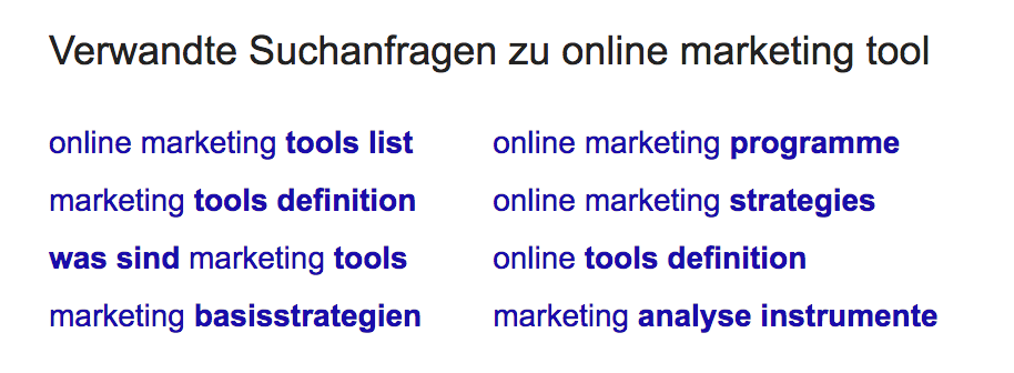 Verwandte Suchanfragen Online Marketing Tool