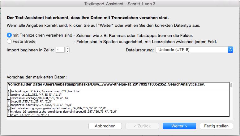 Excel CSV Datei importieren