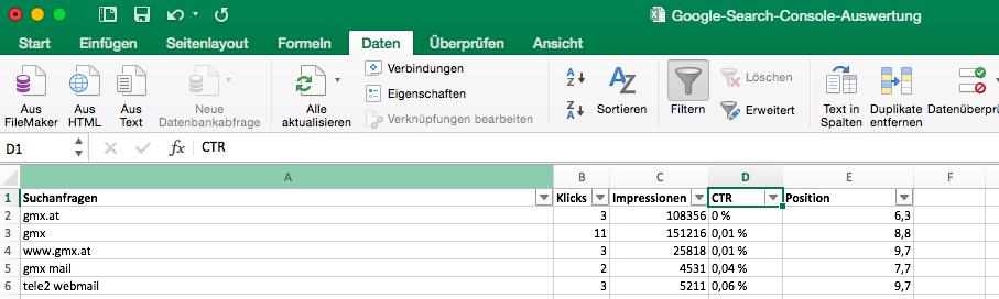 Excel CSV Datei importieren (Daten)
