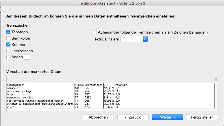 Excel CSV Datei importieren Trennzeichen