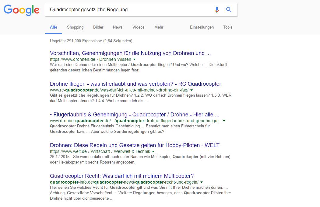 Google SERP: Quadrocopter gesetzliche Regelung